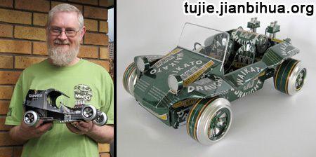 易拉罐和细铁丝制作汽车模型作品欣赏