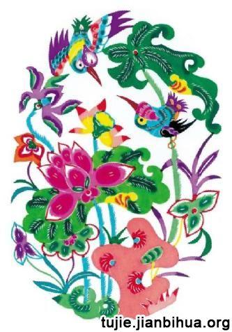 花鸟彩色剪纸图片欣赏