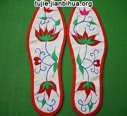 鞋垫梅花图案 方格展示