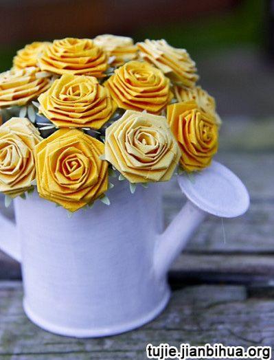 玫瑰花的折法步骤图解