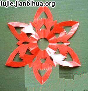 六折花团花剪纸教程图解