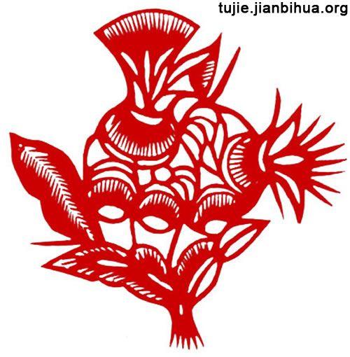 民间剪纸的艺术语言 石榴花鱼
