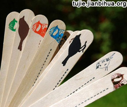 冰棒棍手工制作书签图片
