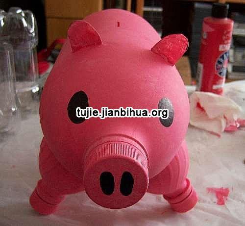 可乐瓶制作猪猪储蓄罐步骤图解
