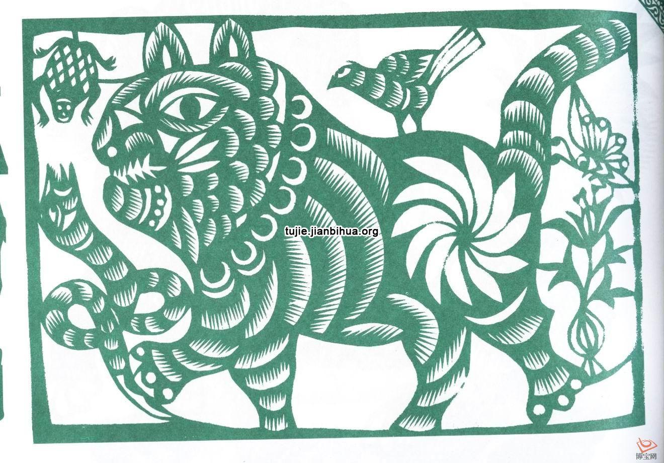 云南民间剪纸 云南的剪纸基本有两种作用。一是寺庙中的神幔、神树及旗幡上的剪纸或刻纸,多为信徒们敬神拜佛的贡献之物。其题材样式包括有云南地方特色的大象、牛羊、佛塔、衣裤、器皿、人物、花鸟及吉祥的图案等。造型简略单纯,有一种原始稚拙的意味。神幔如北方民间的挂帘剪纸,但都很大。常常是多张纸贴接在一起。折叠刻出重复的图案。具有神秘的宗教气息。  刺绣是南方诸多民族女性擅长手艺。而要有别致的花样,就必得学剪。这里的一幅鞋花三幅胸襟花,是白族女性所剪。从内容上看来,已完全是汉族的戏故事,只有其中的佛塔及建筑,仍存有