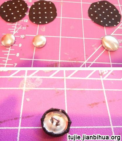纽扣做戒指和耳钉制作步骤图解