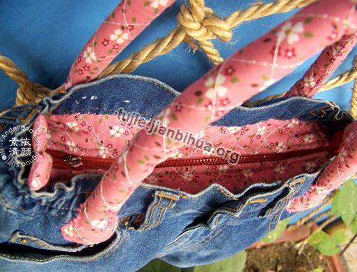 旧牛仔裤改造包包方法图解