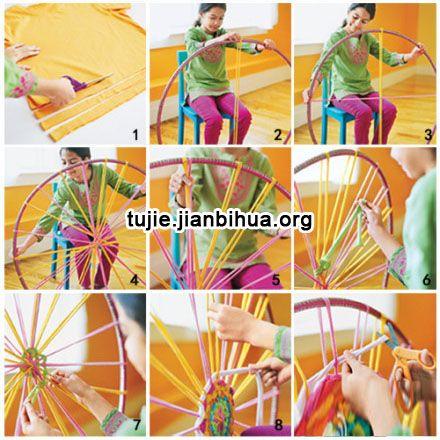 手工旧毛线编织地毯制作步骤图