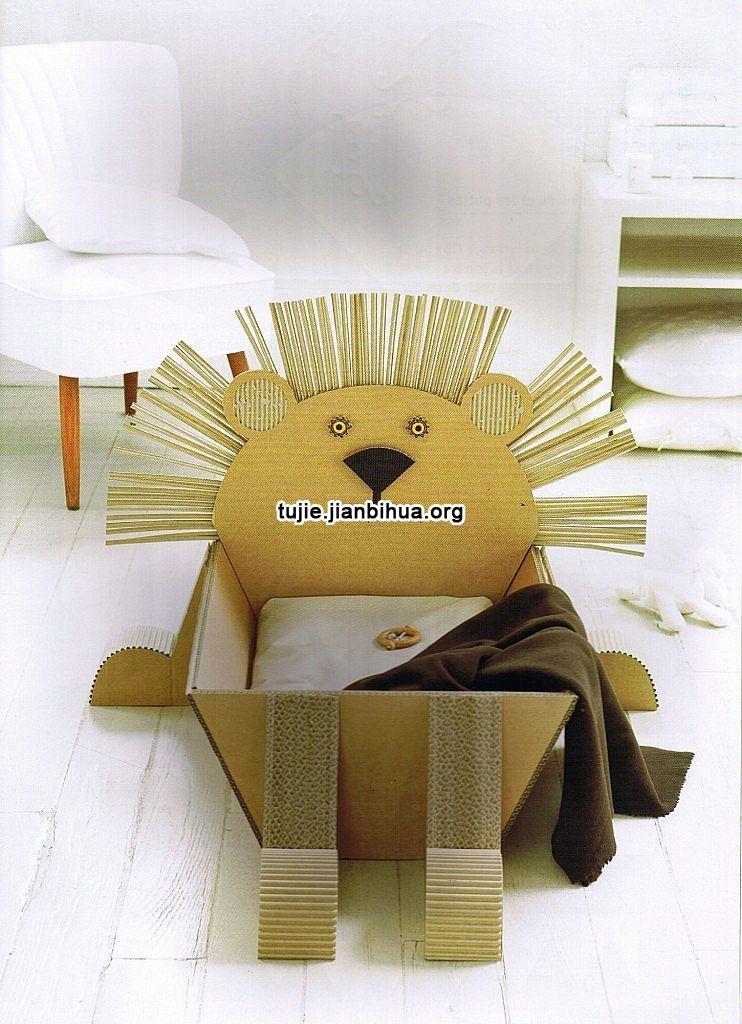 瓦楞纸板制作动物收纳箱图解