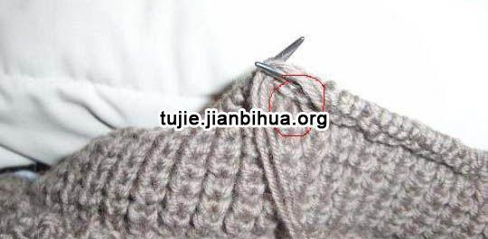 韩版流行针织帽子棒针编织图解:接着再织三针上,这是挑完针后织完第一